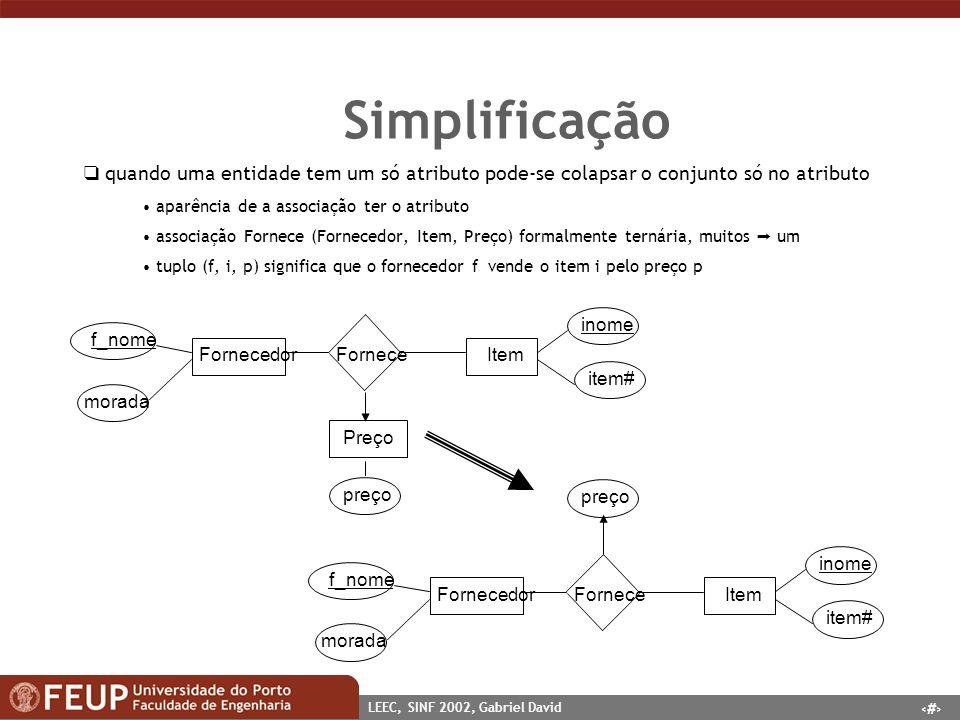 18 LEEC, SINF 2002, Gabriel David Simplificação quando uma entidade tem um só atributo pode-se colapsar o conjunto só no atributo aparência de a assoc