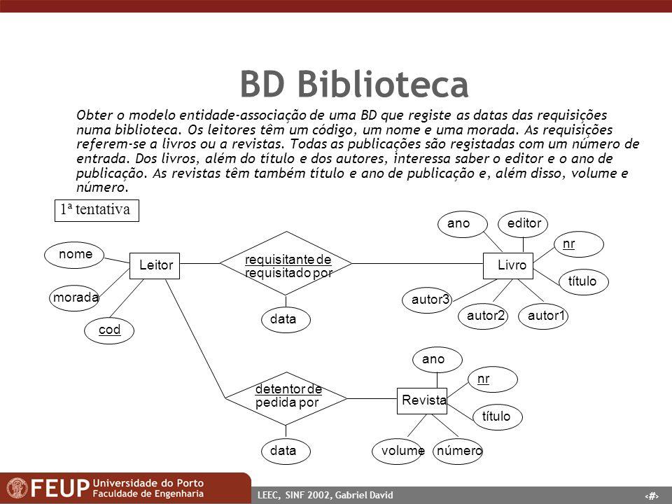 19 LEEC, SINF 2002, Gabriel David BD Biblioteca Obter o modelo entidade-associação de uma BD que registe as datas das requisições numa biblioteca. Os