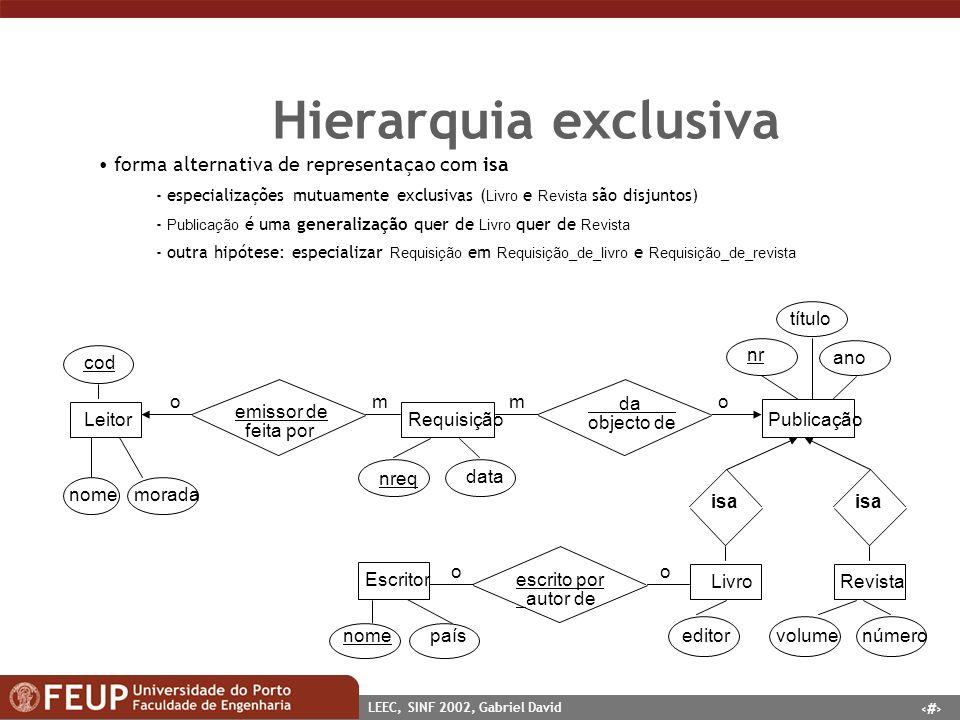 22 LEEC, SINF 2002, Gabriel David Hierarquia exclusiva forma alternativa de representaçao com isa - especializações mutuamente exclusivas ( Livro e Re