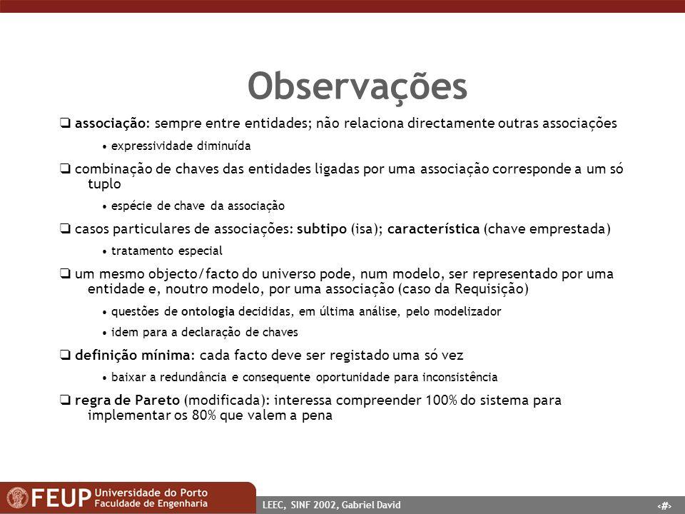 26 LEEC, SINF 2002, Gabriel David Observações associação: sempre entre entidades; não relaciona directamente outras associações expressividade diminuí