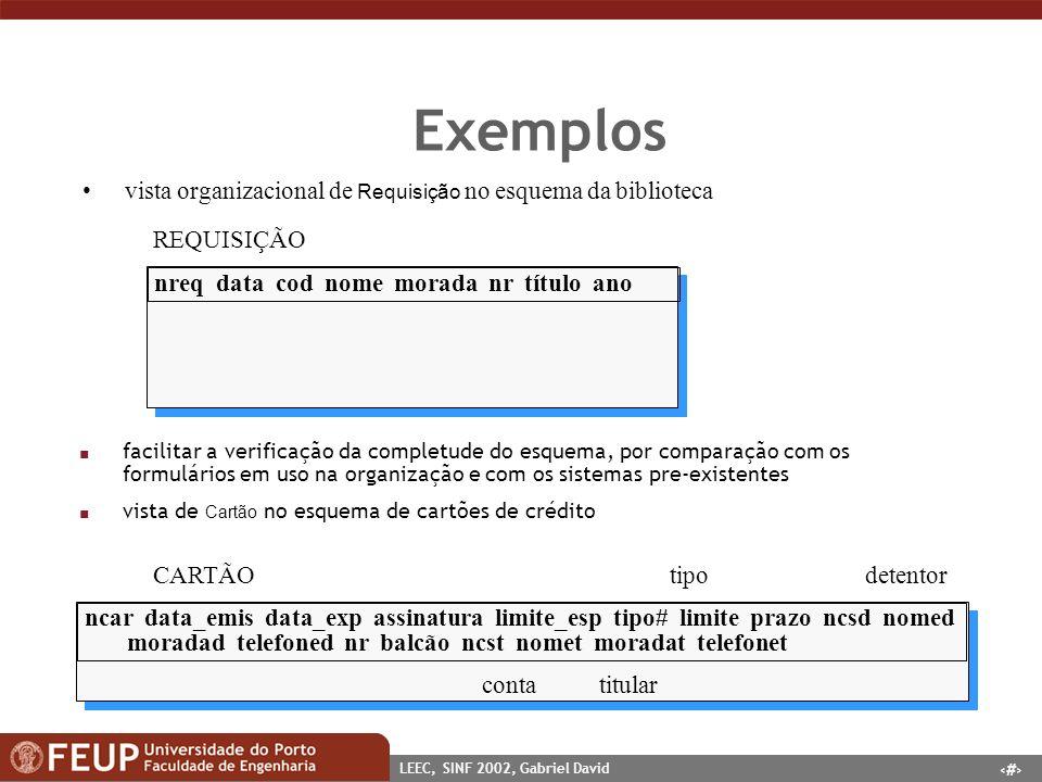 32 LEEC, SINF 2002, Gabriel David Exemplos vista organizacional de Requisição no esquema da biblioteca nreq data cod nome morada nr título ano REQUISI