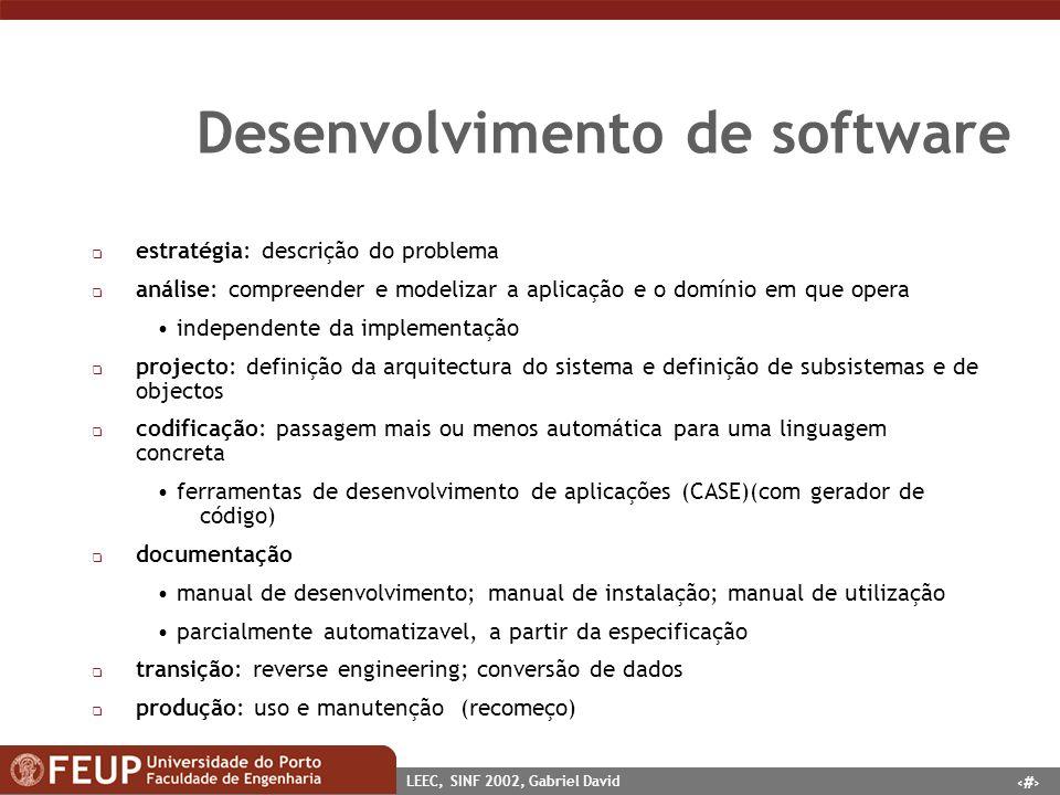 5 LEEC, SINF 2002, Gabriel David Desenvolvimento de software q estratégia: descrição do problema q análise: compreender e modelizar a aplicação e o do