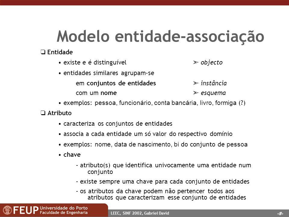 7 LEEC, SINF 2002, Gabriel David Modelo entidade-associação Entidade existe e é distinguível objecto entidades similares agrupam-se em conjuntos de en