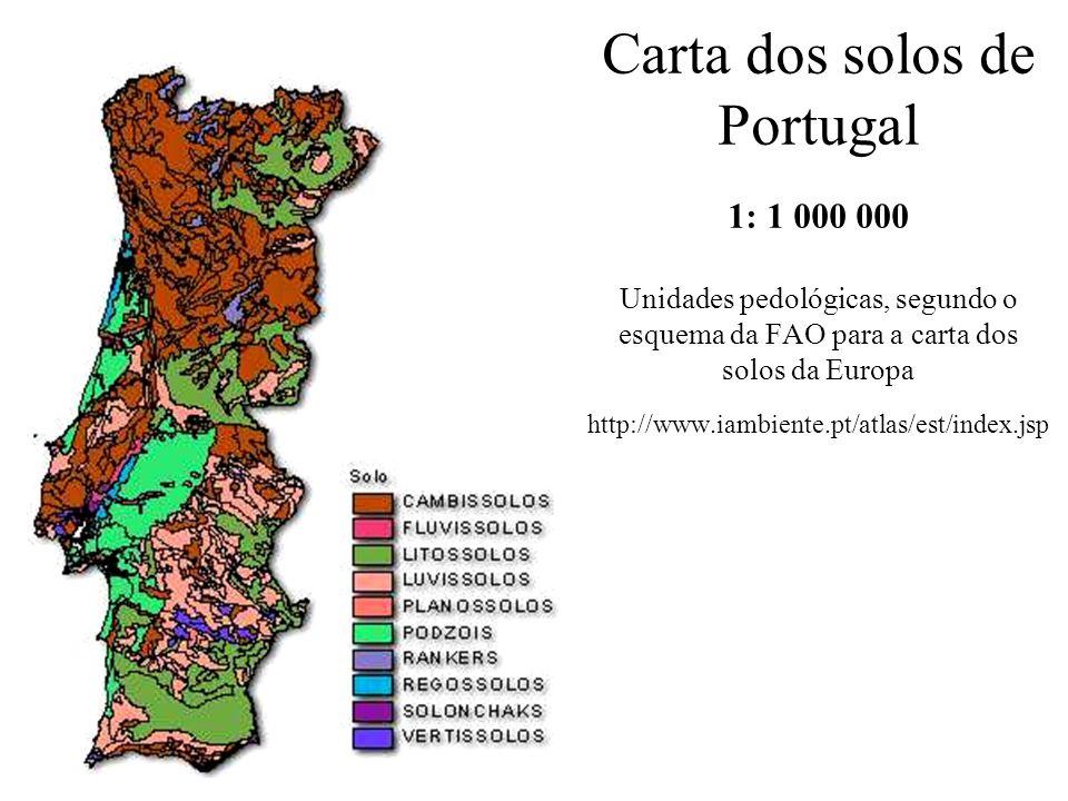 Carta dos solos de Portugal 1: 1 000 000 Unidades pedológicas, segundo o esquema da FAO para a carta dos solos da Europa http://www.iambiente.pt/atlas