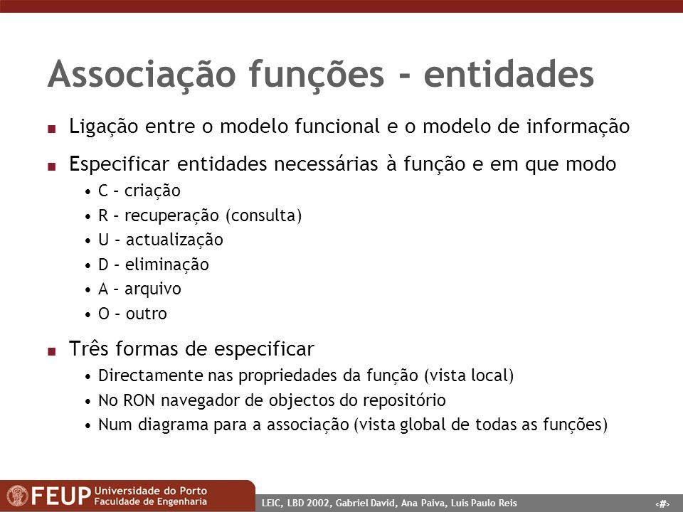 1 LEIC, LBD 2002, Gabriel David, Ana Paiva, Luis Paulo Reis Associação funções - entidades n Ligação entre o modelo funcional e o modelo de informação