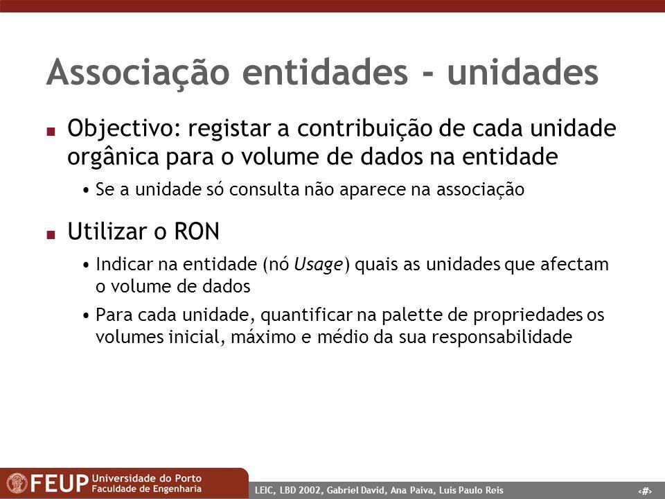 5 LEIC, LBD 2002, Gabriel David, Ana Paiva, Luis Paulo Reis Associação entidades - unidades n Objectivo: registar a contribuição de cada unidade orgân