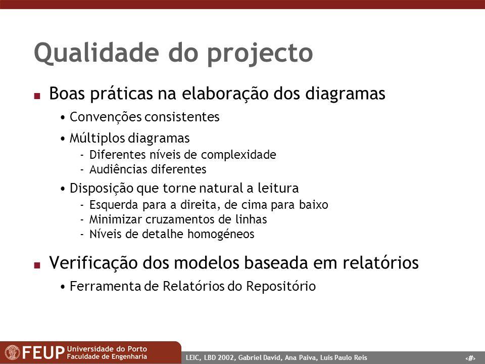 7 LEIC, LBD 2002, Gabriel David, Ana Paiva, Luis Paulo Reis Qualidade do projecto n Boas práticas na elaboração dos diagramas Convenções consistentes