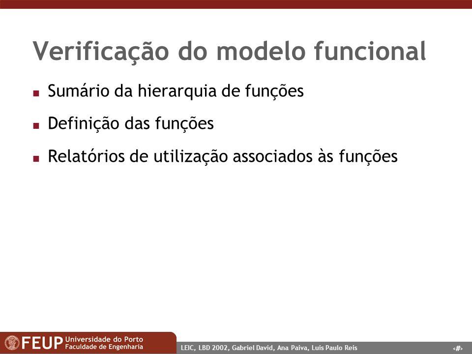 9 LEIC, LBD 2002, Gabriel David, Ana Paiva, Luis Paulo Reis Verificação do modelo funcional n Sumário da hierarquia de funções n Definição das funções n Relatórios de utilização associados às funções
