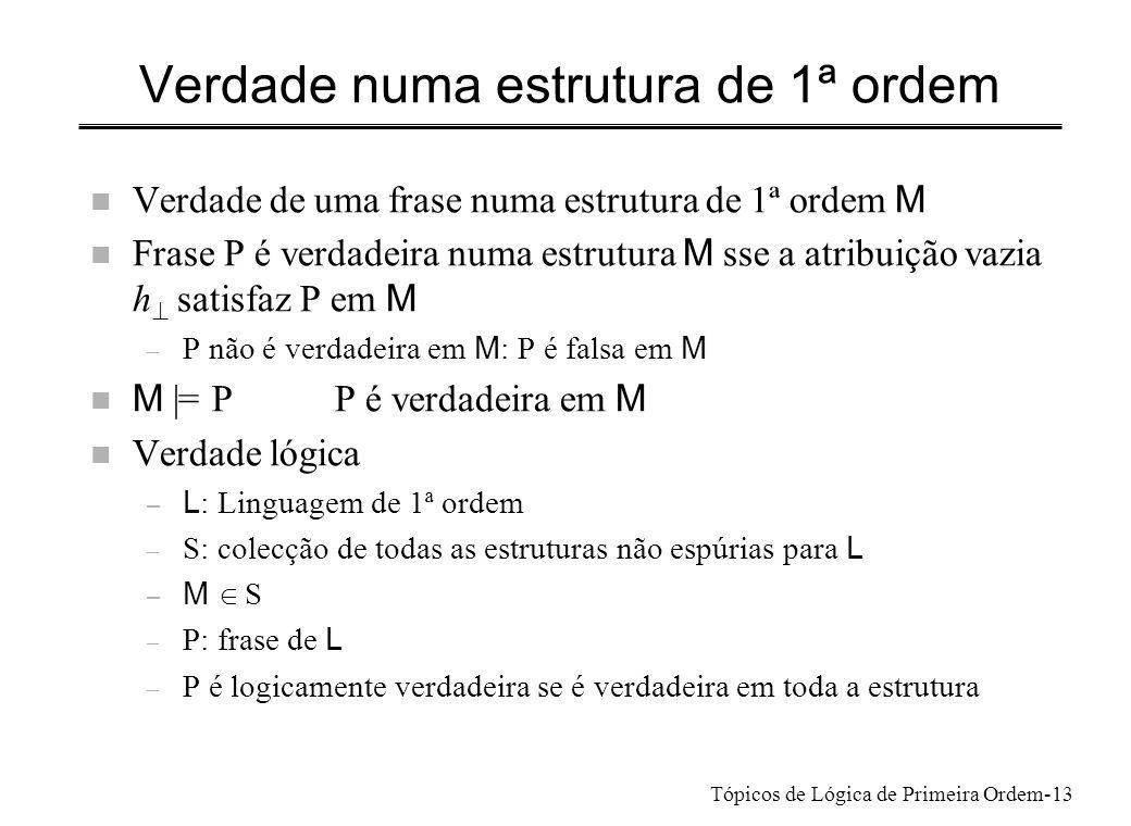 Tópicos de Lógica de Primeira Ordem-14 Verdade e Consequência lógicas – L : Linguagem de 1ª ordem – S: colecção de todas as estruturas não espúrias para L – M S – P: frase de L P é logicamente verdadeira se é verdadeira em toda a estrutura M P é satisfazível se é verdadeira em alguma estrutura M P é falsificável se é falsa nalguma estrutura M (se não é logicamente verdadeira) Q é consequência lógica de um conjunto T ={P1, …} de frases se toda a estrutura M que torna todas as frases de T verdadeiras também torna Q verdadeira