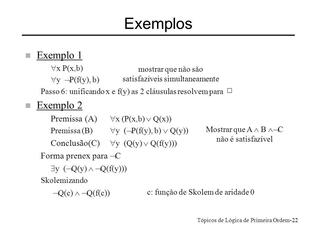 Tópicos de Lógica de Primeira Ordem-23 Exemplos n Exemplo 2 (cont.) Cláusulas a resolver 1.