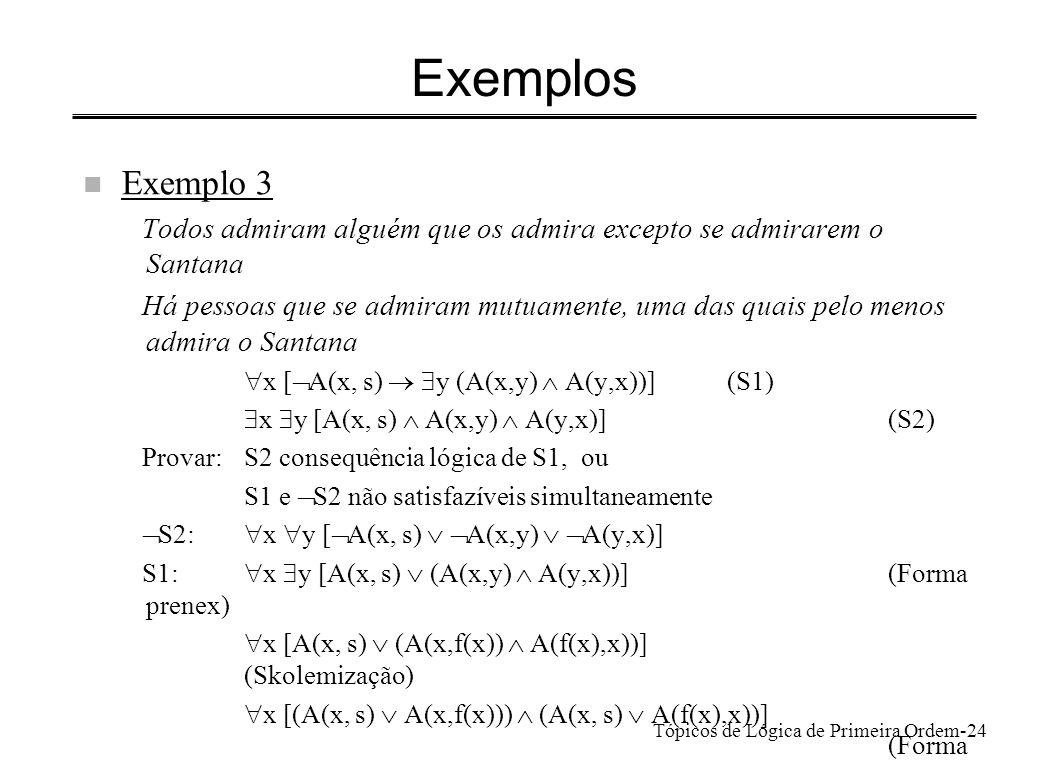 Tópicos de Lógica de Primeira Ordem-25 Exemplos n Exemplo 3 (cont.) Cláusulas a resolver 1.