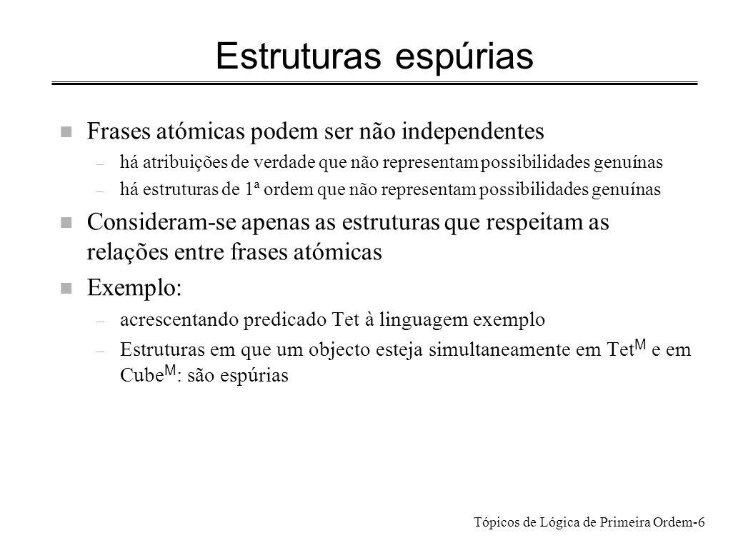 Tópicos de Lógica de Primeira Ordem-7 Verdade e satisfação x P(x) x P(x) n Quando são verdadeiras.