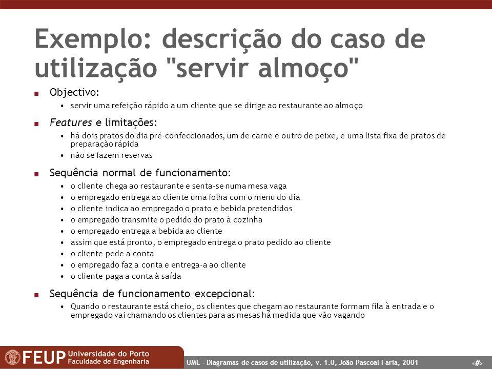 11 UML – Diagramas de casos de utilização, v. 1.0, João Pascoal Faria, 2001 Exemplo: descrição do caso de utilização