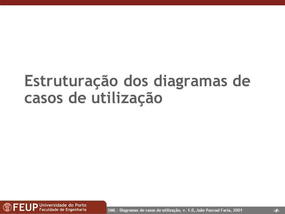 14 UML – Diagramas de casos de utilização, v. 1.0, João Pascoal Faria, 2001 Estruturação dos diagramas de casos de utilização