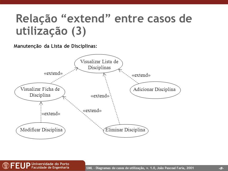 18 UML – Diagramas de casos de utilização, v. 1.0, João Pascoal Faria, 2001 Relação extend entre casos de utilização (3) Modificar Disciplina Visualiz