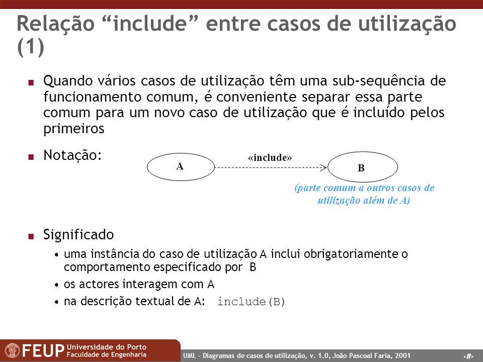 19 UML – Diagramas de casos de utilização, v. 1.0, João Pascoal Faria, 2001 Relação include entre casos de utilização (1) n Quando vários casos de uti