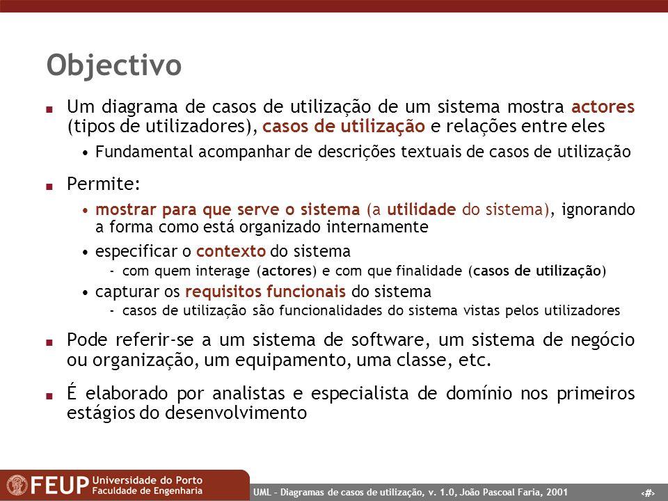 2 UML – Diagramas de casos de utilização, v. 1.0, João Pascoal Faria, 2001 Objectivo n Um diagrama de casos de utilização de um sistema mostra actores