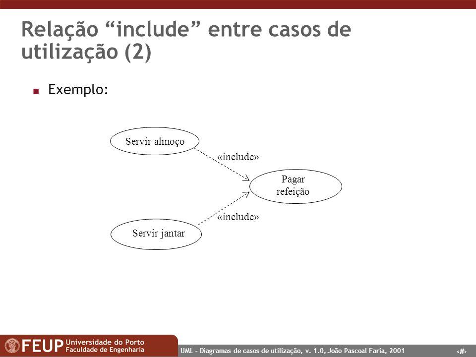 20 UML – Diagramas de casos de utilização, v. 1.0, João Pascoal Faria, 2001 Relação include entre casos de utilização (2) n Exemplo: Servir almoço Ser
