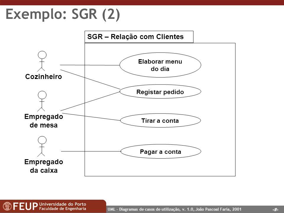 26 UML – Diagramas de casos de utilização, v. 1.0, João Pascoal Faria, 2001 Exemplo: SGR (2) SGR – Relação com Clientes Cozinheiro Elaborar menu do di