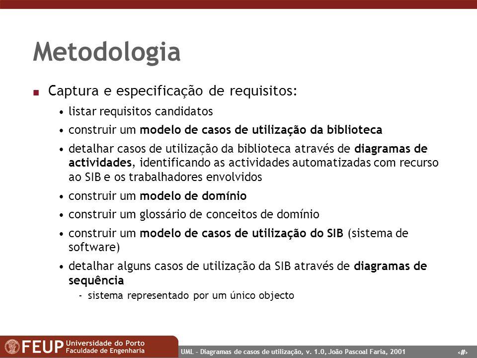 30 UML – Diagramas de casos de utilização, v. 1.0, João Pascoal Faria, 2001 Metodologia n Captura e especificação de requisitos: listar requisitos can