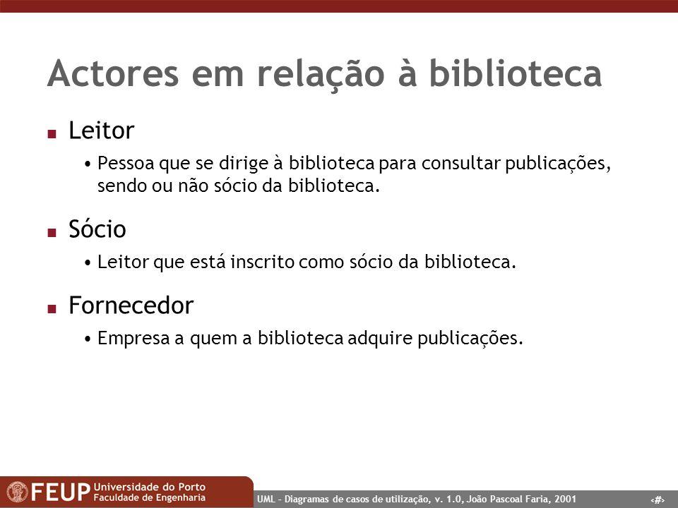 32 UML – Diagramas de casos de utilização, v. 1.0, João Pascoal Faria, 2001 Actores em relação à biblioteca n Leitor Pessoa que se dirige à biblioteca
