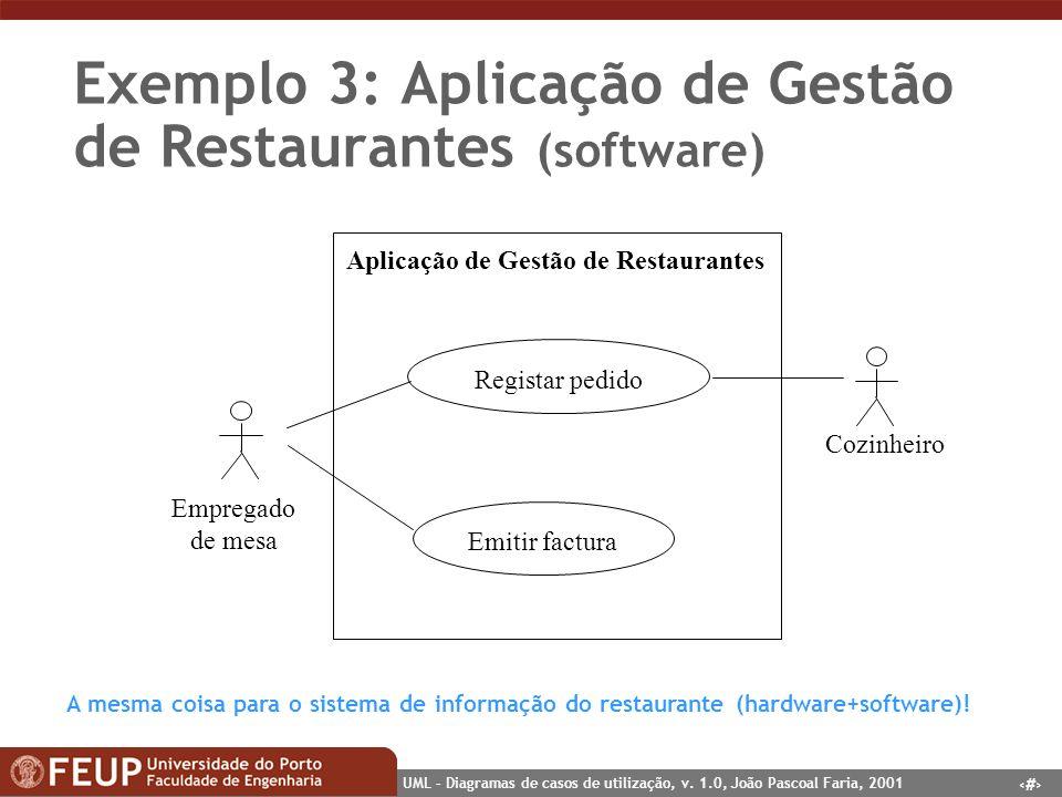6 UML – Diagramas de casos de utilização, v. 1.0, João Pascoal Faria, 2001 Exemplo 3: Aplicação de Gestão de Restaurantes (software) Empregado de mesa