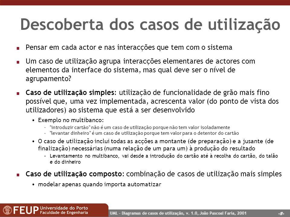9 UML – Diagramas de casos de utilização, v. 1.0, João Pascoal Faria, 2001 Descoberta dos casos de utilização n Pensar em cada actor e nas interacções