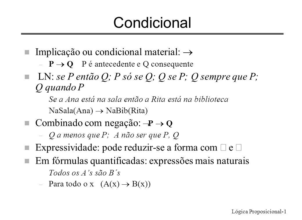 Lógica Proposicional-1 Condicional Implicação ou condicional material: – P Q P é antecedente e Q consequente n LN: se P então Q; P só se Q; Q se P; Q
