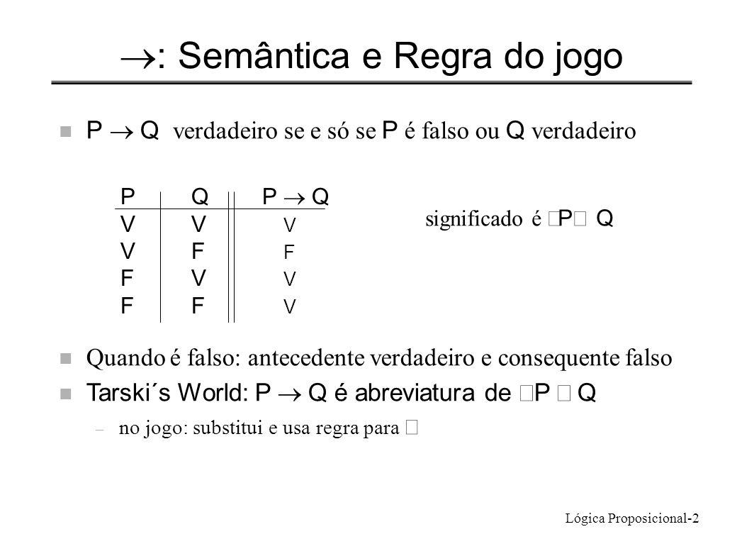 Lógica Proposicional-2 : Semântica e Regra do jogo P Q verdadeiro se e só se P é falso ou Q verdadeiro PQP Q VV V VF F FV V FF V significado é P Q Qua