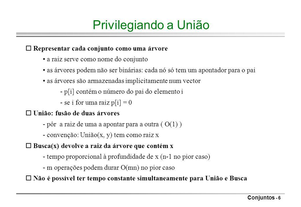 Conjuntos - 7 Exemplo 12345678 12345 6 78 12345 6 7 8 12345 67 8 inicial após União(5, 6) após União(7, 8) após União(5, 7) representação implícita 0 0 0 0 0 5 5 7 1 2 3 4 5 6 7 8