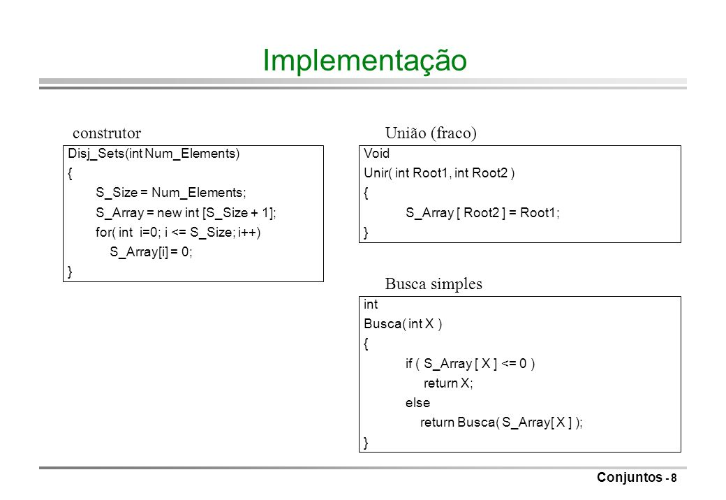 Conjuntos - 8 Implementação Void Unir( int Root1, int Root2 ) { S_Array [ Root2 ] = Root1; } Disj_Sets(int Num_Elements) { S_Size = Num_Elements; S_Ar