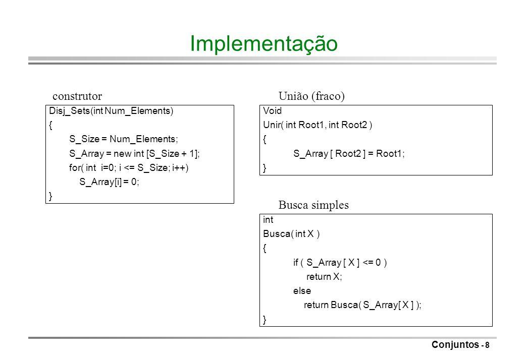Conjuntos - 9 Análise no caso médio o Como definir médio relativamente à operação União.