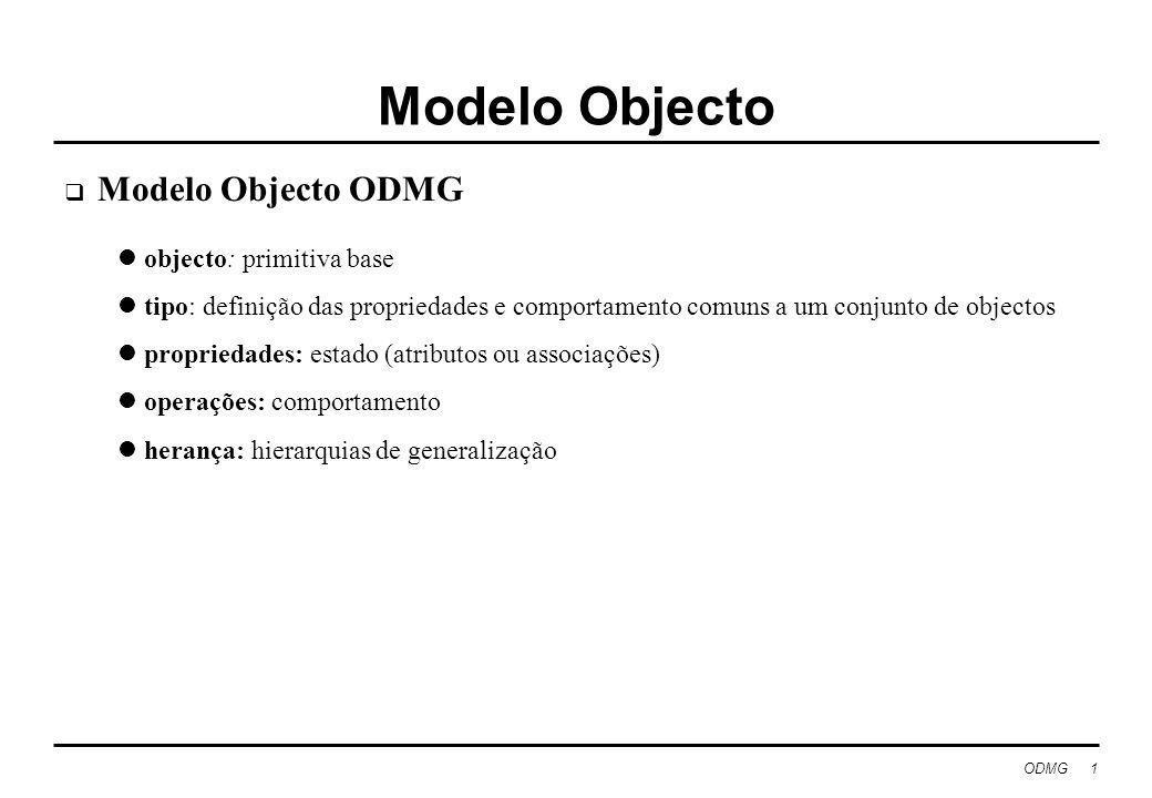 ODMG 1 Modelo Objecto Modelo Objecto ODMG objecto: primitiva base tipo: definição das propriedades e comportamento comuns a um conjunto de objectos propriedades: estado (atributos ou associações) operações: comportamento herança: hierarquias de generalização