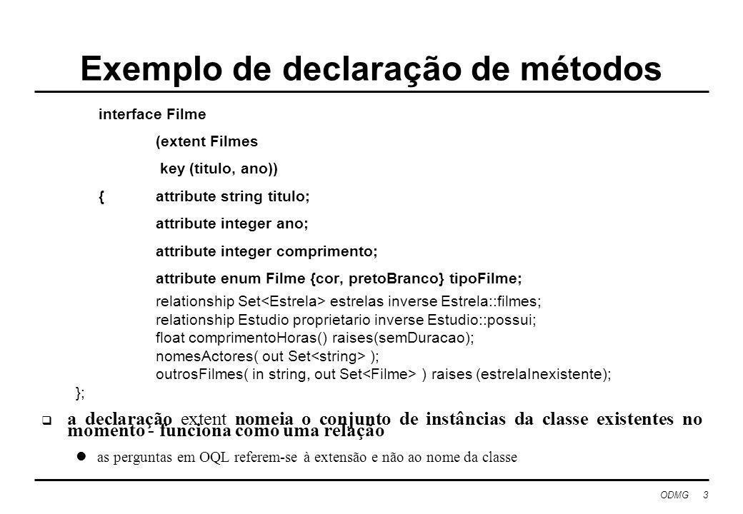 ODMG 4 Estender LPOO com capacidades BD Extensões à linguagem: OPAL é uma extensão do Smalltalk com classes e primitivas de gestão de BD colecções com restrições para armazenar grandes quantidades de dados blocos de selecção especiais com capacidade para usar índices, onde os haja Fornecimento de bibliotecas de gestão de BD para uso de linguagem standard (C++) Ontos, Objectivity, Object Store usa compiladores standard distinção entre preprocessamento e uso de bibliotecas é ténue Objectivos: eliminar a impedância entre as linguagens especializadas de BD e as de uso geral reduzir o abismo semântico para a especificação do problema Resultado ainda é mais navegacional e menos declarativo do que o modelo relacional forneceu