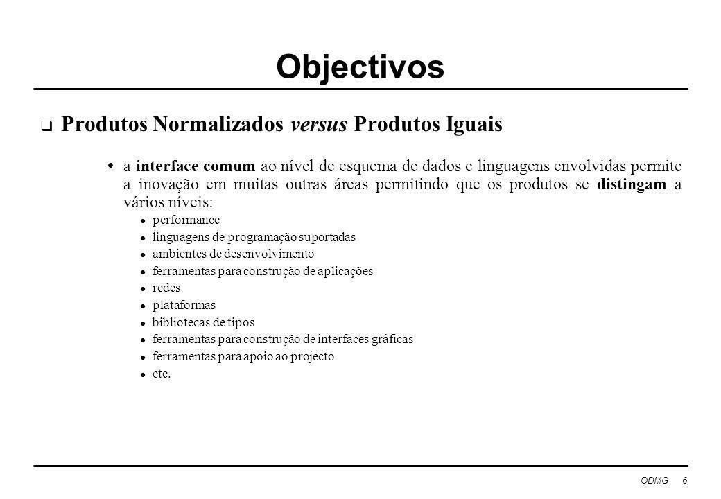 ODMG 6 Objectivos Produtos Normalizados versus Produtos Iguais a interface comum ao nível de esquema de dados e linguagens envolvidas permite a inovaç
