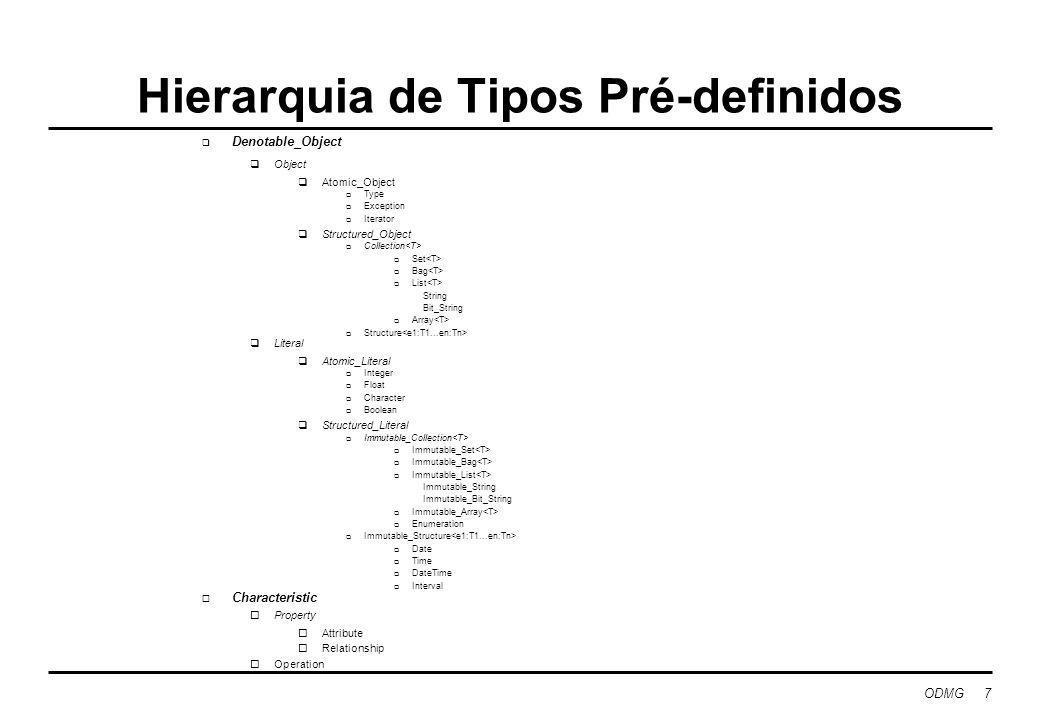 ODMG 8 OQL: Object Query Language Princípios orientadores: não ser computacionalmente completa, mas permitir fácil acesso a uma base de dados de objectos ser declarativa ter como base o modelo objecto ODMG ter uma sintaxe abstracta possuir semântica formal facilmente definível ter construções idênticas às de SQL sem privilegiar a cláusula select-from-where dispôr de primitivas para manipulação de conjuntos e também listas, vectores, bags, etc.