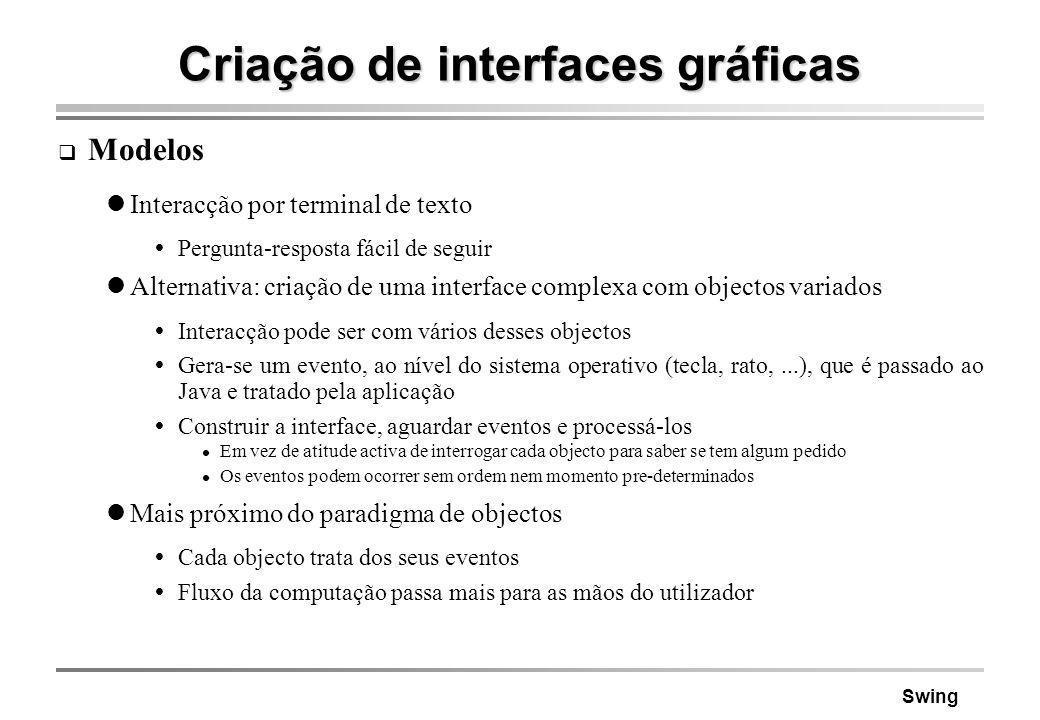 Swing Criação de interfaces gráficas Modelos Interacção por terminal de texto Pergunta-resposta fácil de seguir Alternativa: criação de uma interface