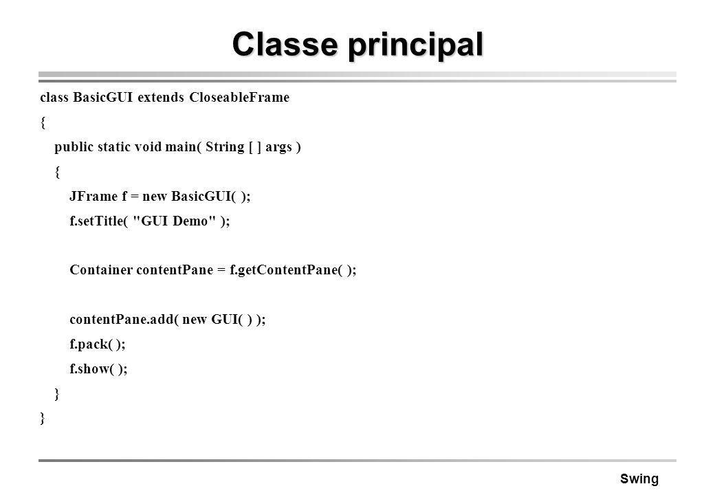 Swing Classe principal class BasicGUI extends CloseableFrame { public static void main( String [ ] args ) { JFrame f = new BasicGUI( ); f.setTitle(