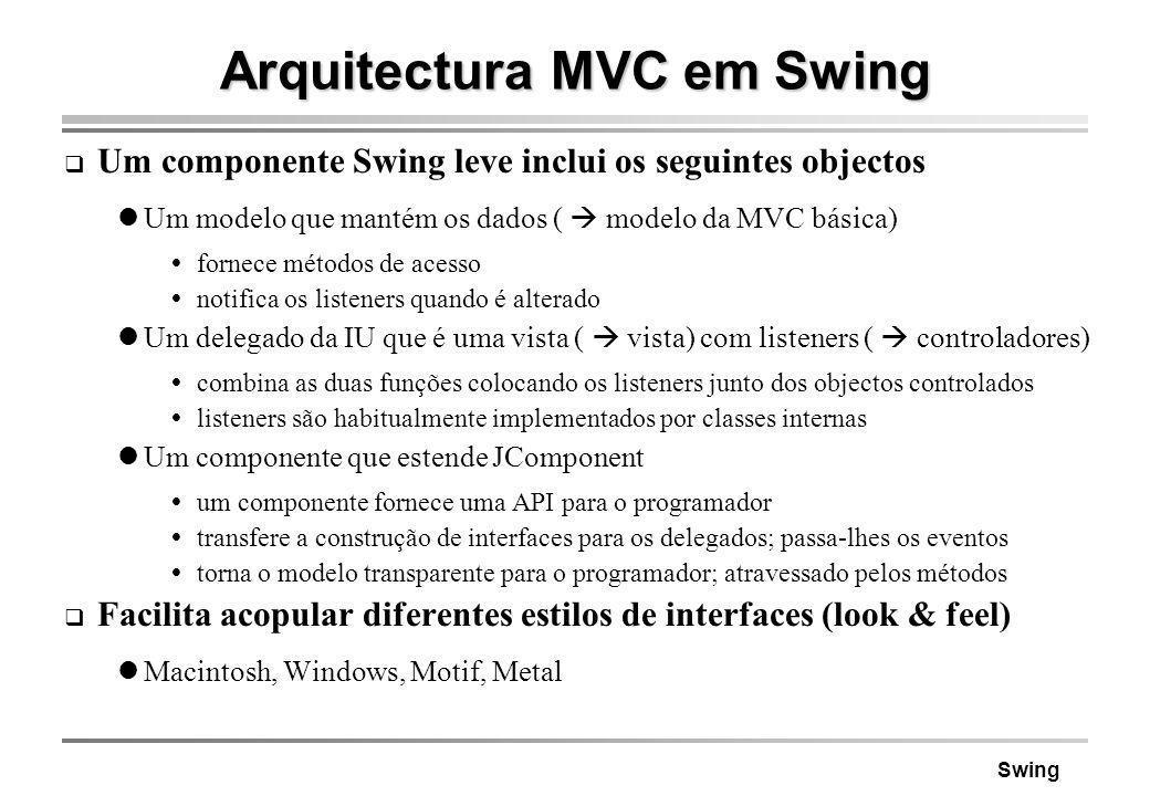 Swing Arquitectura MVC em Swing Um componente Swing leve inclui os seguintes objectos Um modelo que mantém os dados ( modelo da MVC básica) fornece mé
