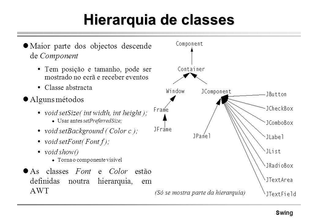 Swing Hierarquia de classes Maior parte dos objectos descende de Component Tem posição e tamanho, pode ser mostrado no ecrã e receber eventos Classe a