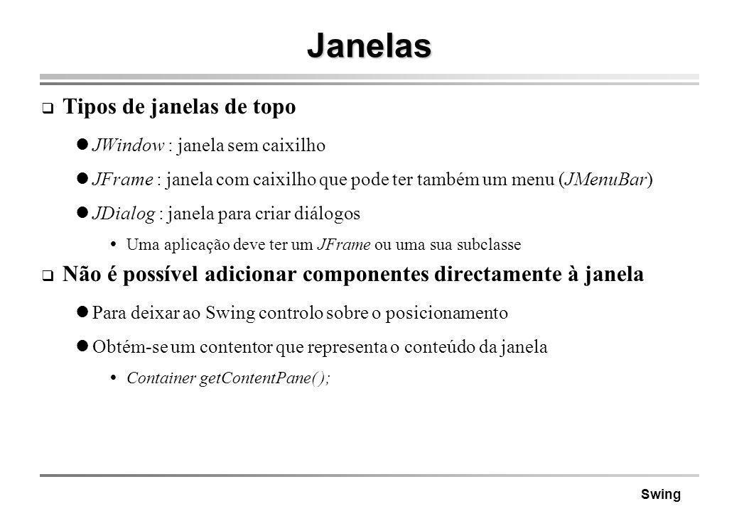 Swing Janelas Tipos de janelas de topo JWindow : janela sem caixilho JFrame : janela com caixilho que pode ter também um menu (JMenuBar) JDialog : jan