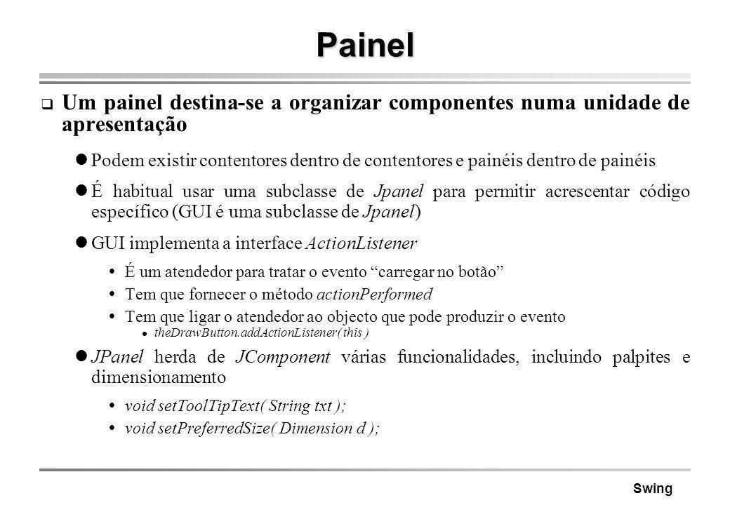 Swing Painel Um painel destina-se a organizar componentes numa unidade de apresentação Podem existir contentores dentro de contentores e painéis dentr
