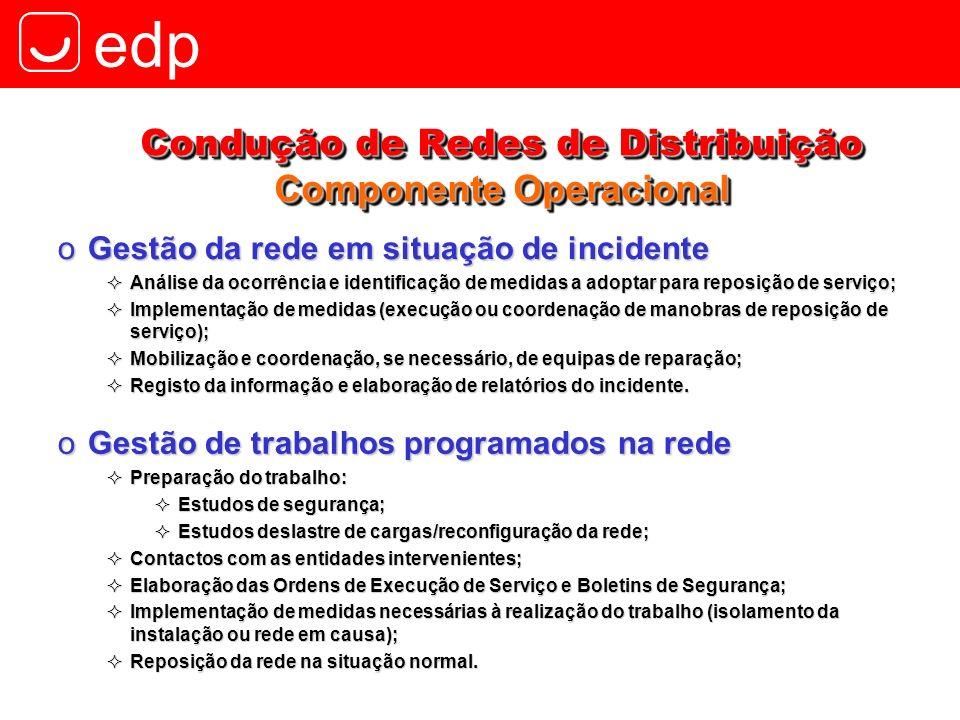edp oGestão da rede em situação de incidente Análise da ocorrência e identificação de medidas a adoptar para reposição de serviço; Análise da ocorrênc