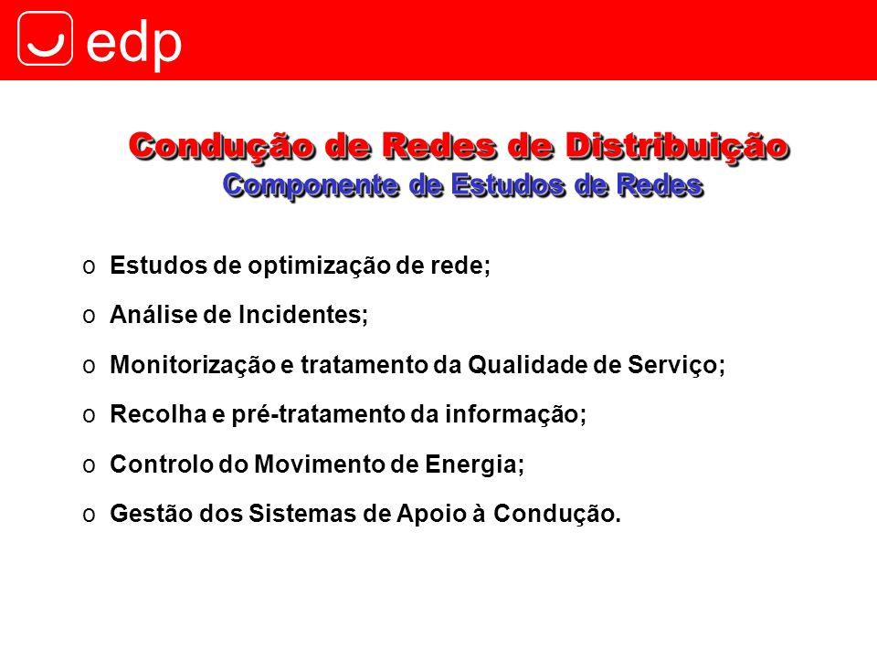 edp oEstudos de optimização de rede; oAnálise de Incidentes; oMonitorização e tratamento da Qualidade de Serviço; oRecolha e pré-tratamento da informa