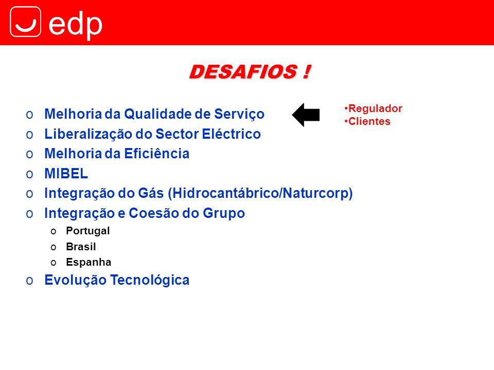edp DESAFIOS ! oMelhoria da Qualidade de Serviço Regulador Clientes oLiberalização do Sector Eléctrico oMelhoria da Eficiência oMIBEL oIntegração do G