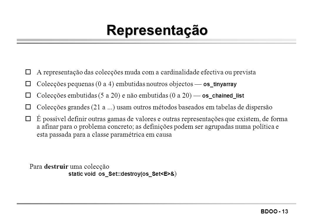 BDOO - 13 Representação oA representação das colecções muda com a cardinalidade efectiva ou prevista Colecções pequenas (0 a 4) embutidas noutros obje