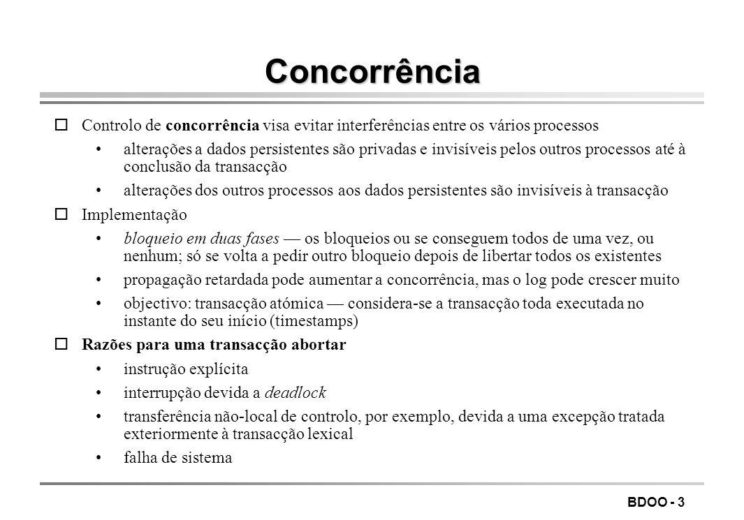 BDOO - 3 Concorrência oControlo de concorrência visa evitar interferências entre os vários processos alterações a dados persistentes são privadas e in