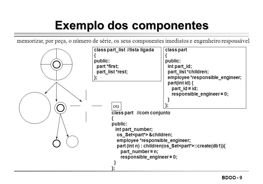 BDOO - 20 Obtenção de elementos oObter elementos individuais (leve) void* pick( const os_index_path &path, const os_coll_range &range) const; Ex: os_index_path &id_path = os_index_path::create( employee* , id ,db1); os_coll_range range_eq_1138(EQ,1138); … employee *e = a_coll.pick(id_path, range_eq_1138); mais do que um empregado com id=1138 Û devolvido um arbitrariamente dicionário E pick(const K &key_ref) const; E pick(const K *key_ptr) const; // obtém elemento com a chave indicada E pick(const os_coll_range&) const;/ / obtém elemento cuja chave satisfaz gama elemento arbitrário E pick() const; a_cell= a_bus->pins.pick()->cell->container