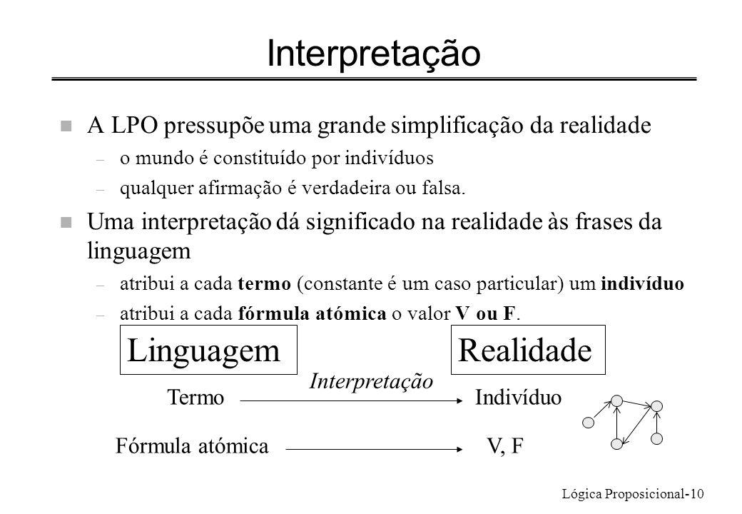Lógica Proposicional-10 Interpretação n A LPO pressupõe uma grande simplificação da realidade – o mundo é constituído por indivíduos – qualquer afirma