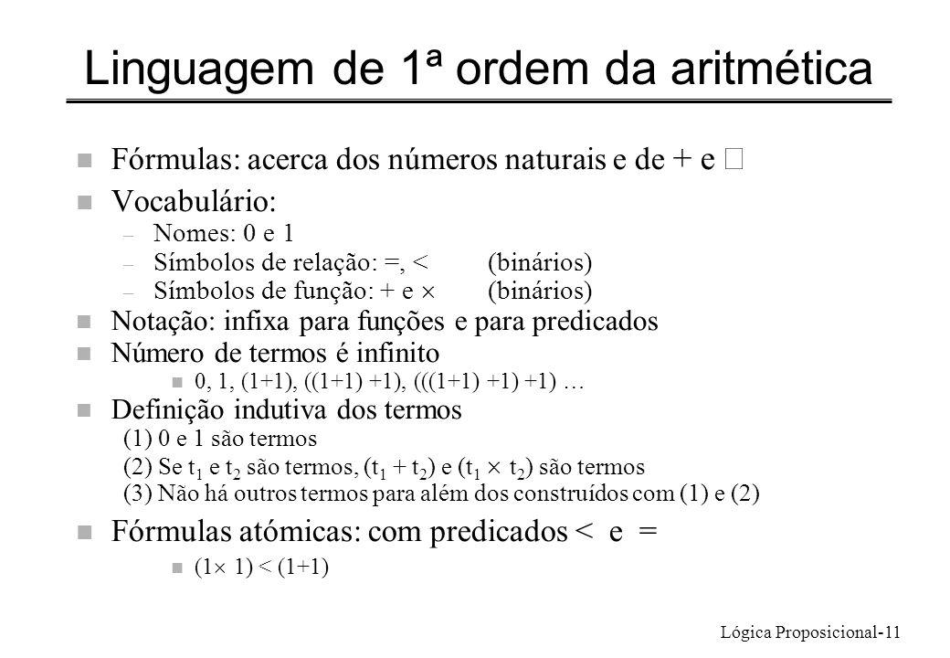 Lógica Proposicional-11 Linguagem de 1ª ordem da aritmética Fórmulas: acerca dos números naturais e de + e n Vocabulário: – Nomes: 0 e 1 – Símbolos de